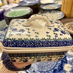 Polish Pottery Stoneware Butter Dish Artist Initialed.