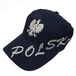 Stylish blue cap with silver and white thread embroidery. The cap features a silver Polish Eagle with gold crown and talons. Features an adjustable cloth and metal tab in the back. Designed to fit most people.