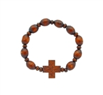 10 rosary bracelet, made of  wooden beads on an elastic band.