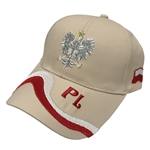 Stylish cream cap with silver and white thread embroidery. The cap features a silver Polish Eagle with gold crown and talons. Features an adjustable cloth and metal tab in the back. Designed to fit most people.