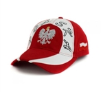 Stylish red and white cap with silver, white and black thread embroidery. The cap features a silver Polish Eagle with gold crown and talons. Features an adjustable cloth and metal tab in the back. Designed to fit most people.