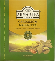 Ahmad Cardamom Green Tea 100 Tagged Tea bags