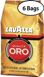6 Bags Lavazza Qualita Oro Whole Beans Coffee in Bag 2.2lb/1kg (1943)