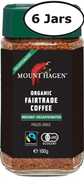 6 Jars Mount Hagen Organic Decaffeinated Instant Coffee 3.5oz/100g Each