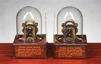 Vintage Edison Ticker Tape Replica Bookends
