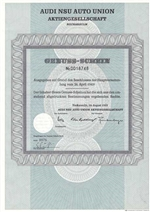 1932 Rare German Audi Stock Certificate