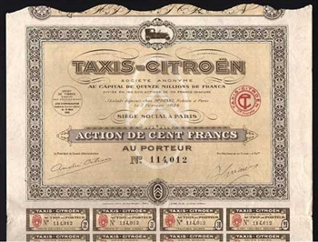 1924 Taxis Citroen, French Automobile Bond Certificate