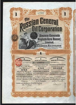 Russian General Oil Corporation Bond Certificate - 1913