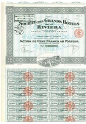1930 French Riviera Hotel Company Stock Certificate