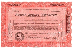 Aeronca Aircraft Corporation Stock Certificate