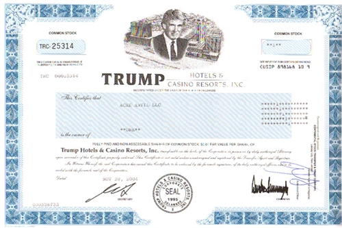 Trump Hotels Amp Casino Resorts Inc Stock Certificate