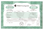 Global Crossing Stock Certificate
