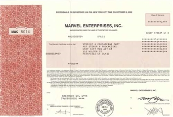Marvel Entertainment Group Stock Certificate Red