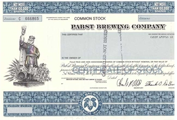 Pabst Brewing Company Stock Certificate King Gambrinus