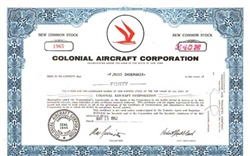 Colonial Aircraft Corporation Stock Certificate