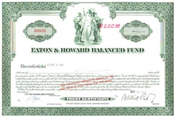 Eaton & Howard Balanced Fund Boston Mass Stock Certificate