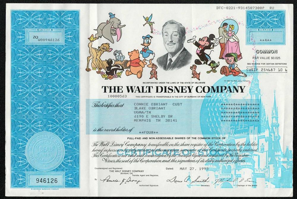 The Walt Disney Company Stock Certificate