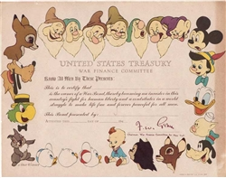 The Walt Disney Company War Bond - 1940s - Unissued