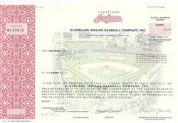 Cleveland Indians Stock Certificate