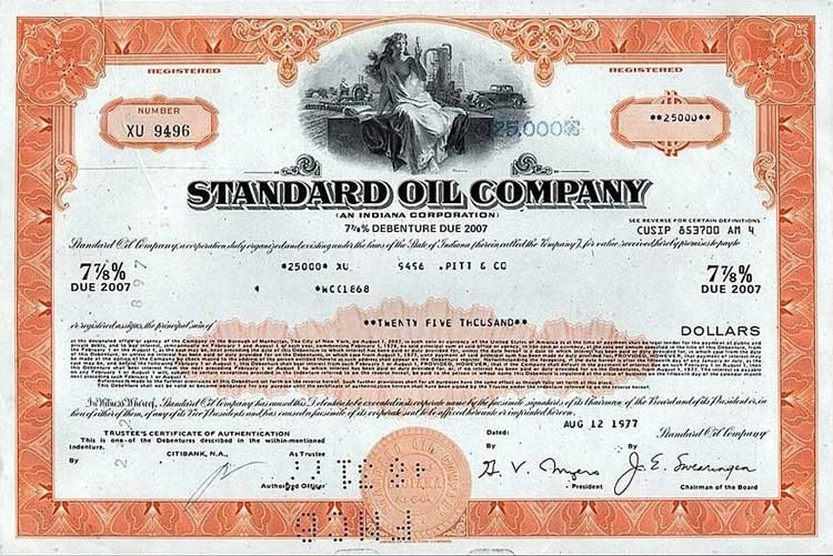 Standard Oil Company Stock Certificate - Orange