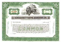Narragansett Racing Association, Inc. Stock Certificate
