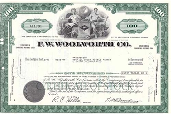 F.W. Woolworth Company Stock Certificate - Green