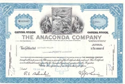 The Anaconda Company Stock Certificate - Blue