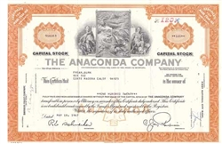 The Anaconda Company Stock Certificate - Orange