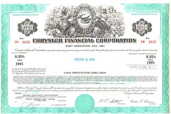 Chrysler Finananical Corporation Bond Certificate