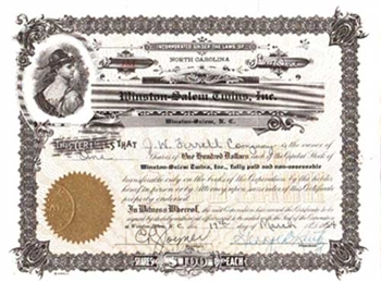 1954 Winston-Salem Twins, Inc. Stock Certificate