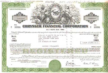 Chrysler Financial Corporation Bond Certificate-Aqua