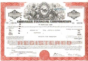 Chrysler Financial Corporation Bond Certificate-Brown