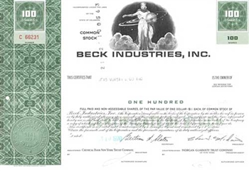 Beck Industries, Inc. Stock Certificate
