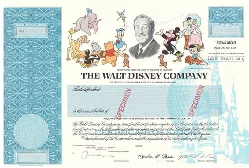 The Walt Disney Company Specimen Stock Certificate