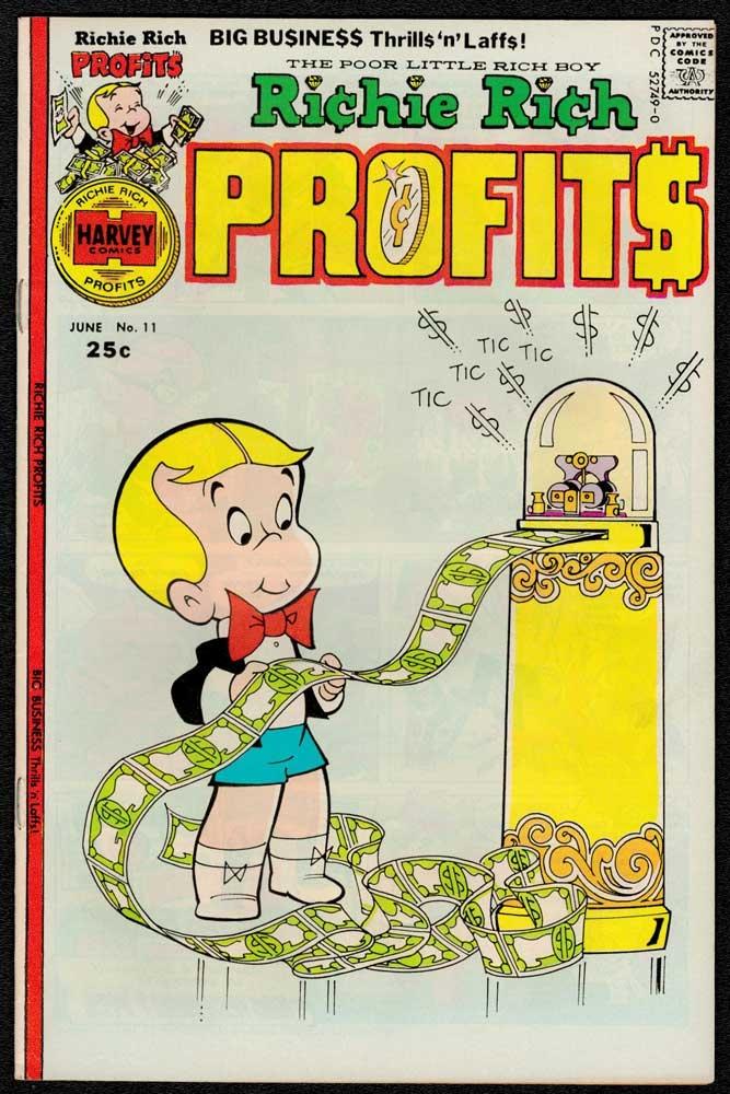 1976 Richie Rich Profits Comic Book With Ticker Machine Cover