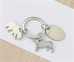 Bull and Bear Key Tag with Pouch