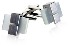 Clamped Silver Glass Cufflinks