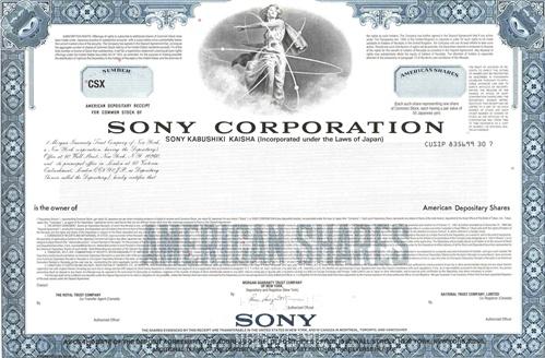Sony Specimen Certificate – Specimen Share Certificate