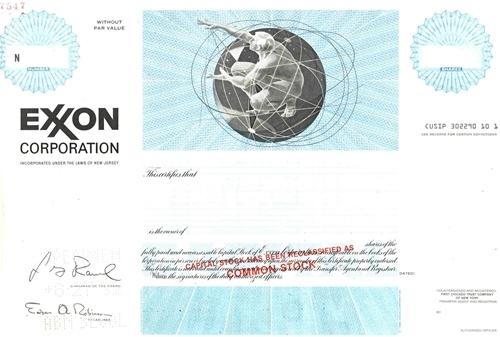 Exxon Corp  Specimen Stock Certificate