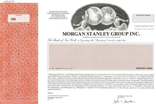 Morgan Stanley Group, Inc  Specimen Stock Certificate
