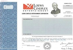 Loews Cineplex Entertainment Corp. Specimen Stock Certificate