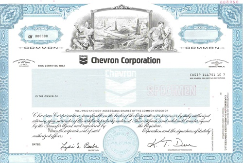 Chevron Corp Specimen Certificate – Specimen Share Certificate