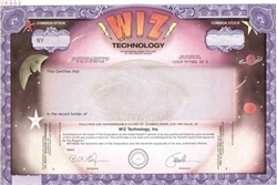 WIZ Technology Specimen Stock Certificate