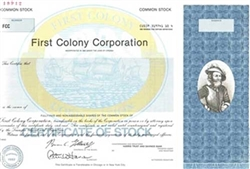 First Colony Corp. Specimen Stock Certificate