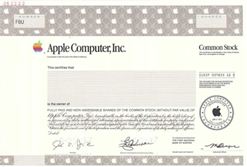 Apple Computer, Inc.  Specimen Stock Certificate -1997