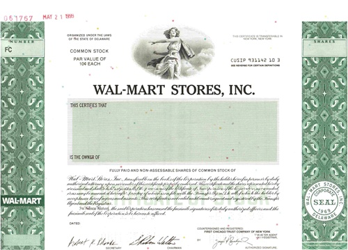 Wal Mart Stores Specimen Stock Certificate
