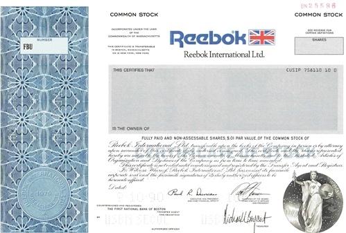 Reebok International Ltd Specimen Certificate – Specimen Share Certificate