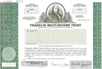 Franklin Multi-Income Trust Specimen Stock Certificate