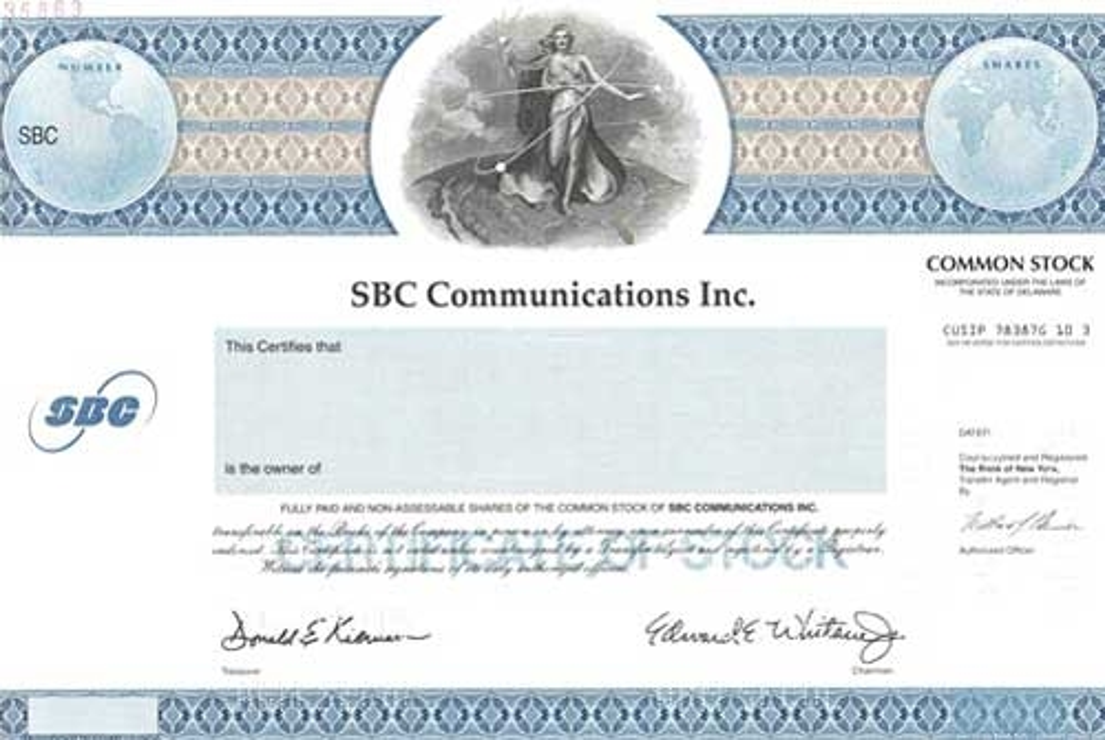 SBC Communications Inc Specimen Certificate – Specimen Share Certificate