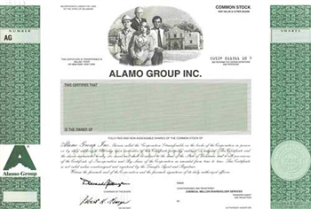 Alamo Group Inc.Specimen Stock Certificate